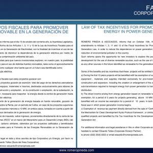 ROMERO PINEDA & ASOCIADOS: Amendments of Renewable Energy Law