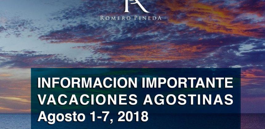 Asueto Nacional en Agosto de 2018.