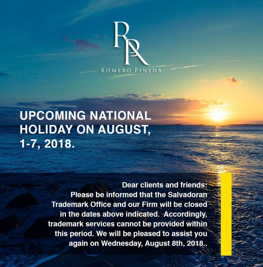 Upcoming National Holiday on August, 2018.