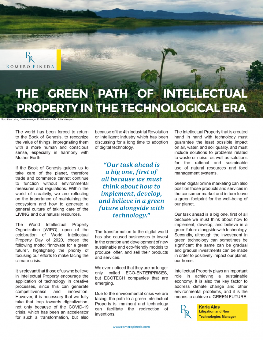 THE GREEN PATH OF INTELLECTUAL PROPERTY IN THE TECHNOLOGICAL ERA