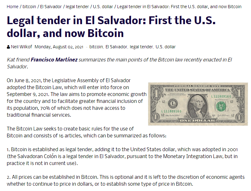 Legal tender in El Salvador: First the U.S. dollar, and now Bitcoin